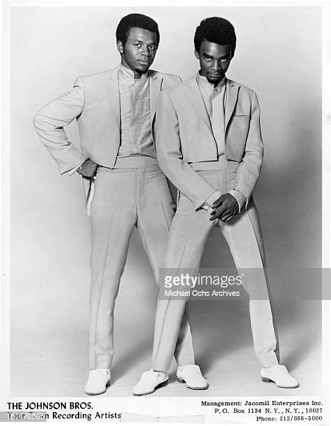 Jim Johnson and James Aaron Johnson of the soul group 'The Johnson Brothers' which recorded the song When I Was A Boy pose for a portrait in circa...