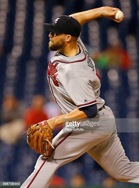 Jim Johnson of the Atlanta Braves delivers a pitch against the Philadelphia Phillies during the ninth inning of a game at Citizens Bank Park on...