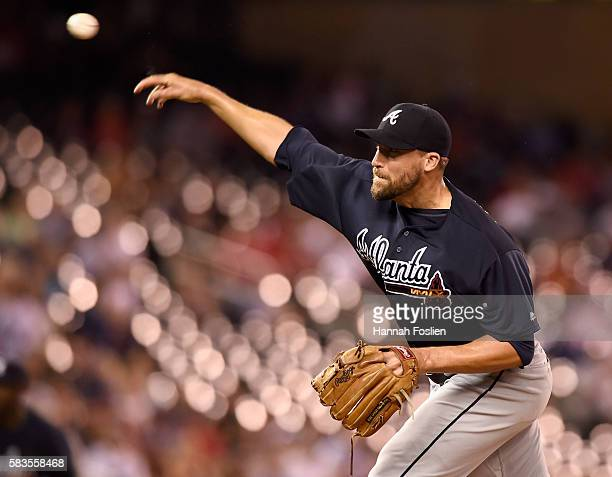 Jim Johnson of the Atlanta Braves delivers a pitch against the Minnesota Twins during the ninth inning of the game on July 26 2016 at Target Field in...
