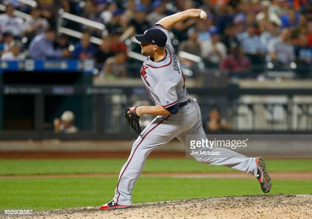 Jim Johnson of the Atlanta Braves in action against the New York Mets at Citi Field on September 27 2017 in the Flushing neighborhood of the Queens...