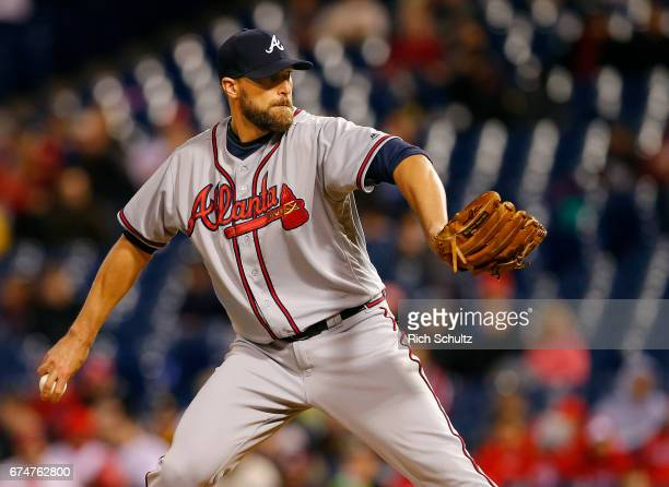 Jim Johnson of the Atlanta Braves in action during a game against the Philadelphia Phillies at Citizens Bank Park on April 22 2017 in Philadelphia...