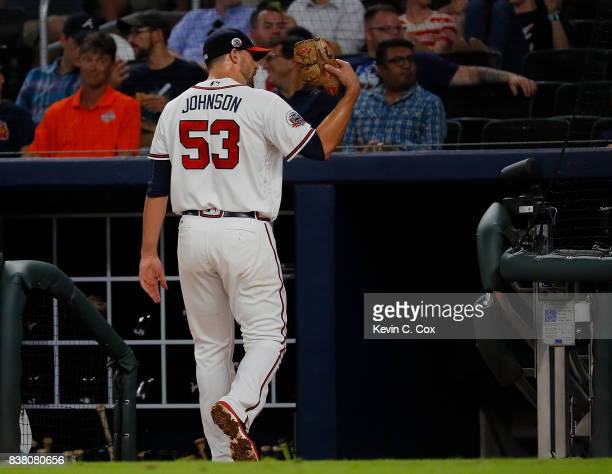 Jim Johnson of the Atlanta Braves looks to the stands after being pulled in the eighth inning against the Seattle Mariners at SunTrust Park on August...