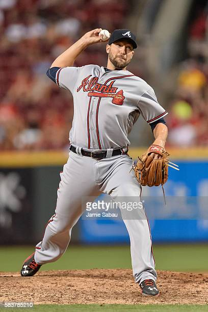 Jim Johnson of the Atlanta Braves pitches against the Cincinnati Reds at Great American Ball Park on July19 2016 in Cincinnati Ohio