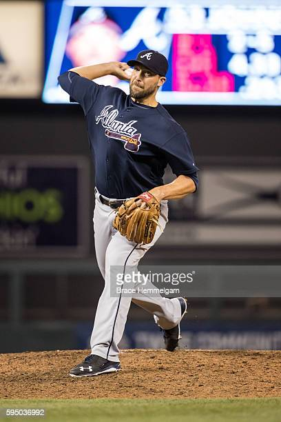 Jim Johnson of the Atlanta Braves pitches against the Minnesota Twins on July 27 2016 at Target Field in Minneapolis Minnesota The Braves defeated...