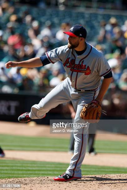 Jim Johnson of the Atlanta Braves pitches against the Oakland Athletics during the ninth inning at the Oakland Coliseum on July 1 2017 in Oakland...