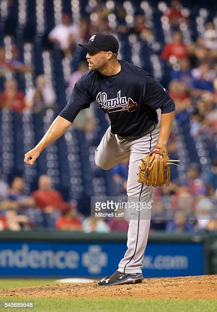 Jim Johnson of the Atlanta Braves pitches against the Philadelphia Phillies at Citizens Bank Park on July 5 2016 in Philadelphia Pennsylvania