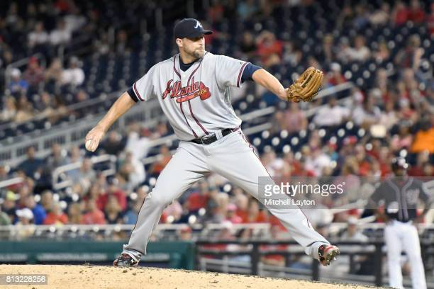 Jim Johnson of the Atlanta Braves pitches during a baseball game against the Washington Nationals at Nationals Park on July 7 2017 in Washington DC...