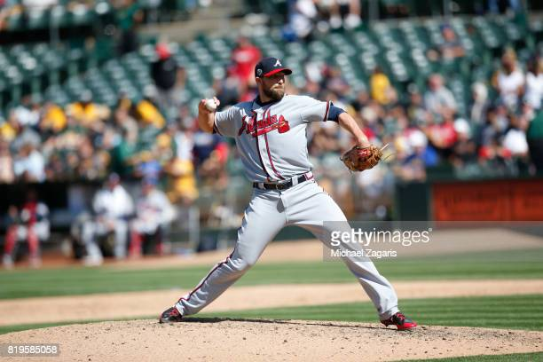 Jim Johnson of the Atlanta Braves pitches during the game against the Oakland Athletics at the Oakland Alameda Coliseum on July 1 2017 in Oakland...