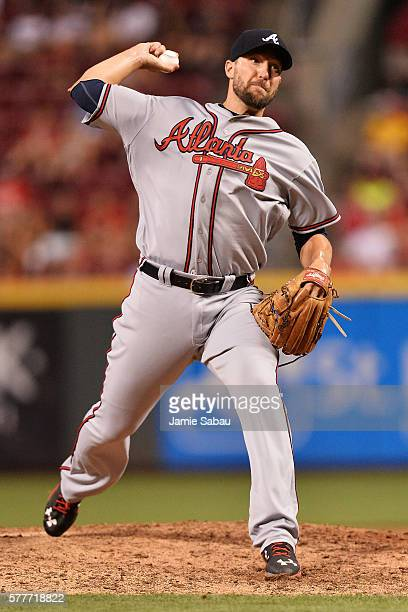 Jim Johnson of the Atlanta Braves pitches in the ninth inning against the Cincinnati Reds at Great American Ball Park on July19 2016 in Cincinnati...