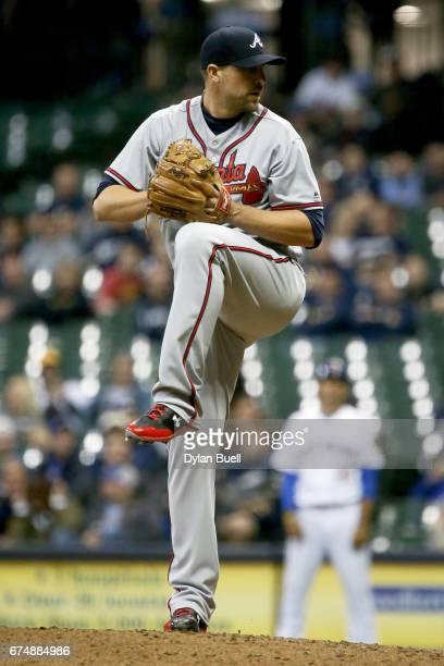 Jim Johnson of the Atlanta Braves pitches in the ninth inning against the Milwaukee Brewers at Miller Park on April 28 2017 in Milwaukee Wisconsin