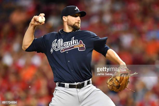 Jim Johnson of the Atlanta Braves pitches in the ninth inning against the Cincinnati Reds at Great American Ball Park on June 2 2017 in Cincinnati...