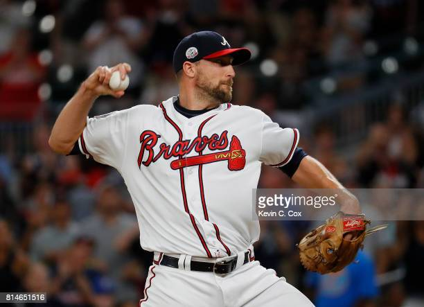 Jim Johnson of the Atlanta Braves pitches in the ninth inning against the Arizona Diamondbacks at SunTrust Park on July 14 2017 in Atlanta Georgia