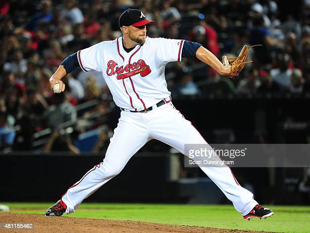 Jim Johnson of the Atlanta Braves throws a ninth inning pitch against the Chicago Cubs at Turner Field on July 17 2015 in Atlanta Georgia