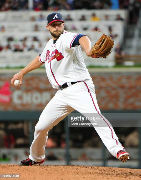 Jim Johnson of the Atlanta Braves throws a ninth inning pitch against the San Diego Padres at SunTrust Park on April 15 2017 in Atlanta Georgia All...