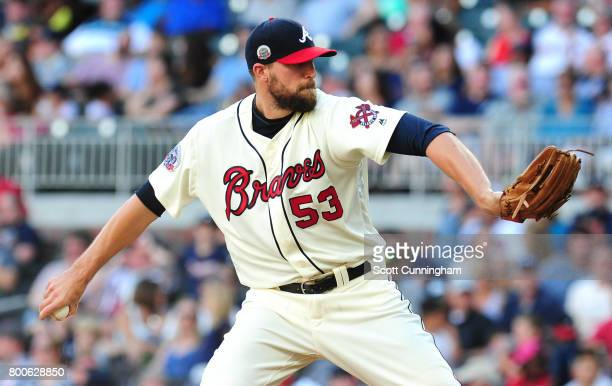 Jim Johnson of the Atlanta Braves throws a ninth inning pitch against the Milwaukee Brewers at SunTrust Park on June 24 2017 in Atlanta Georgia