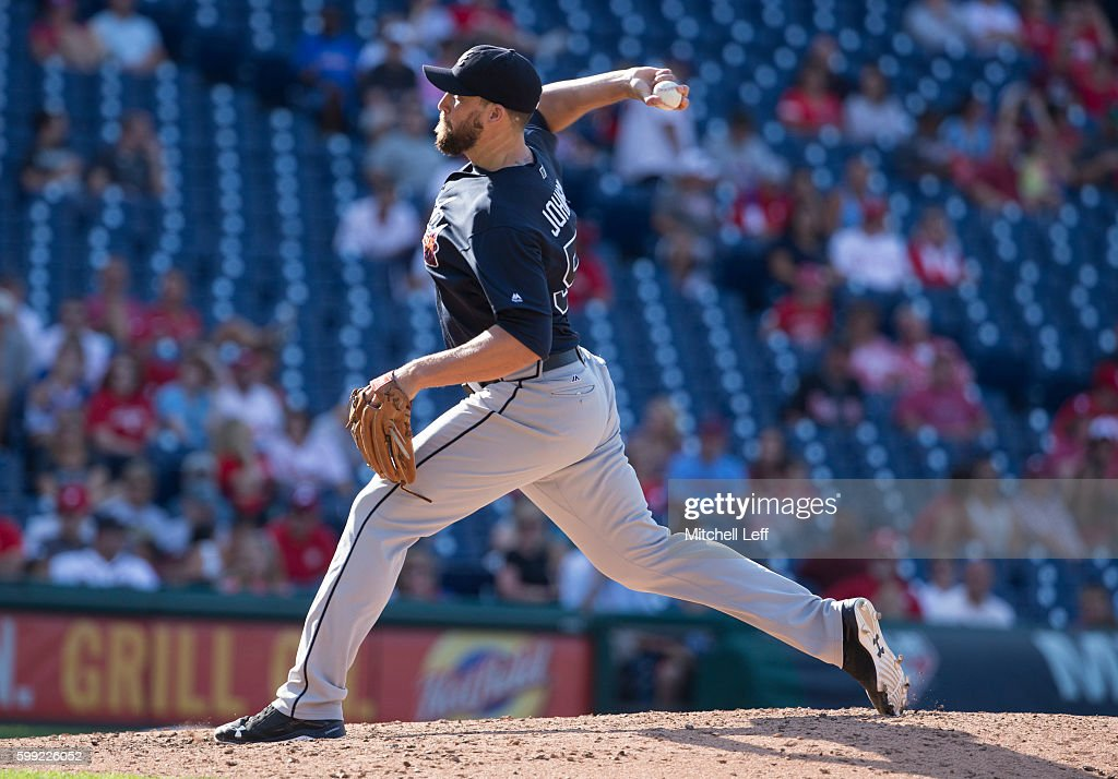 Jim Johnson #53 of the Atlanta Braves throws a pitch in the bottom of the ninth inning against the Philadelphia Phillies at Citizens Bank Park on September 4, 2016 in Philadelphia, Pennsylvania. The Braves defeated the Phillies 2-0.