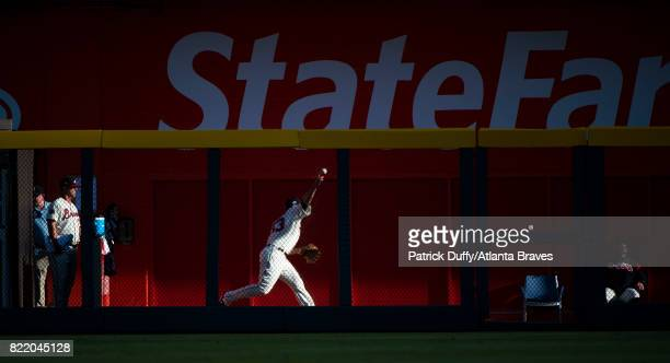 Jim Johnson of the Atlanta Braves warms up in the bullpen during the game against the Milwaukee Brewers at SunTrust Park on June 24 2017 in Atlanta...