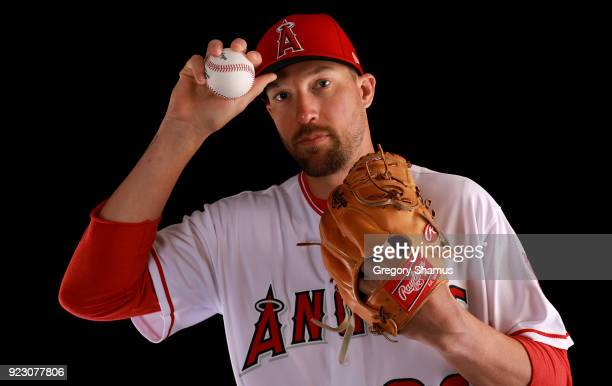 Jim Johnson of the Los Angeles Angels poses during Los Angeles Angels Photo Day at Tempe Diablo Stadium on February 22 2018 in Tempe Arizona