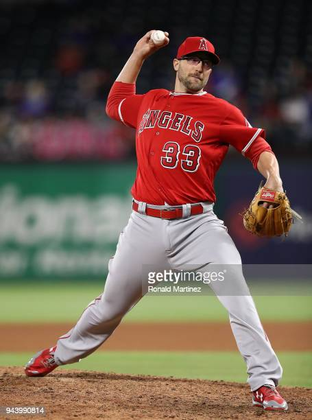 Jim Johnson of the Los Angeles Angels throws against the Texas Rangers in the seventh inning at Globe Life Park in Arlington on April 9 2018 in...