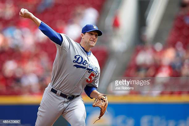 Jim Johnson of the Los Angeles Dodgers pitches in the ninth inning against the Cincinnati Reds at Great American Ball Park on August 27 2015 in...