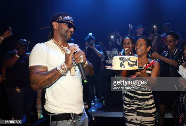"Jim Jones and Mama Jones celebrate Jim Jones' birthday at the Jim Jones ""EL Capo"" Album Release Concert at Gramercy Theatre on July 16, 2019 in New..."