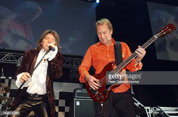 Jim Keays and Glenn Wheatley of Masters Apprentices perform live on stage during the 'Long Way To The Top' concert tour at Rod Laver Arena on August...