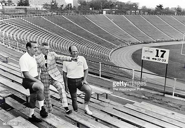 Jim Kehoe, former University of Maryland athletic director from 1969 to 1978 and a track coach before that. Jim Kehoe, center, with football coach...