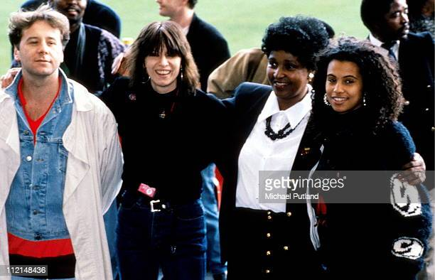 LR Jim Kerr Chrissie Hynde Winnie Mandela Neneh Cherry at the Nelson Mandela 70th Birthday Tribute Concert Wembley Stadium London 11th June 1988
