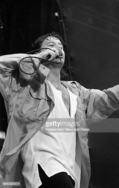 Jim Kerr Lead Vocalist with Simple Minds on stage during their concert in Croke Park circa June 1986