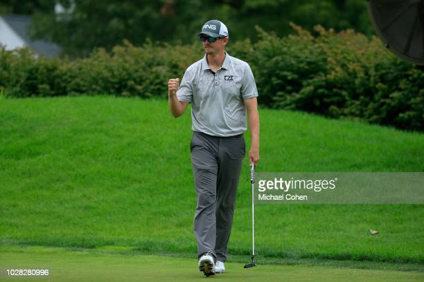 Jim Knous celebrates his birdie during the third round of the Nationwide Children's Hospital Championship held at The Ohio State University Golf Club...