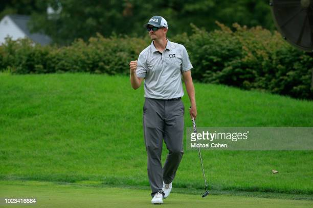 Jim Knous celebrates his birdie on the 16th green during the third round of the Nationwide Children's Hospital Championship held at The Ohio State...