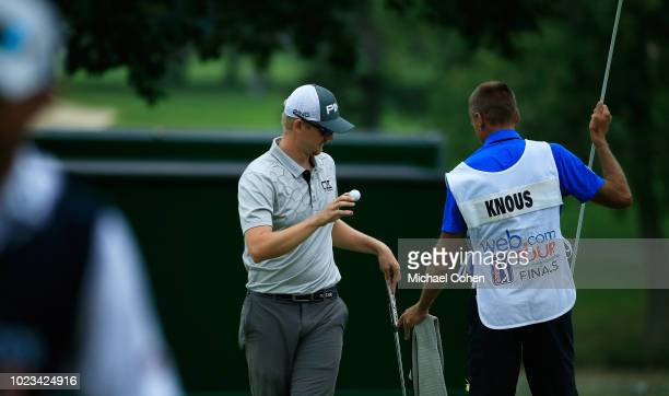 Jim Knous celebrates his birdie on the eighth hole during the third round of the Nationwide Children's Hospital Championship held at The Ohio State...