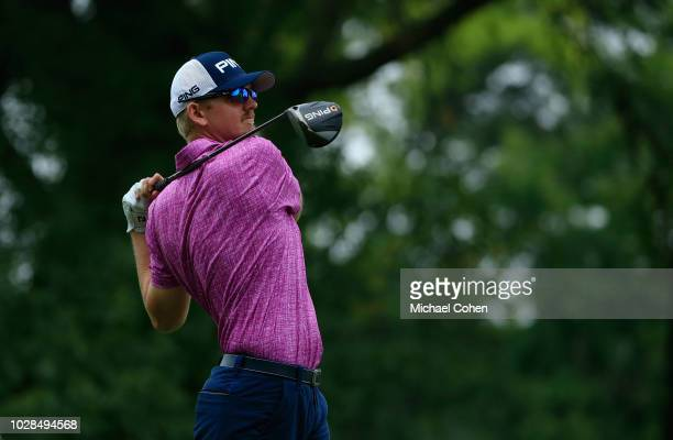 Jim Knous hits a drive during the fourth and final round of the Nationwide Children's Hospital Championship held at The Ohio State University Golf...