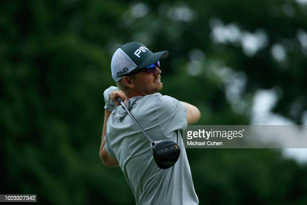 Jim Knous hits his drive on the ninth hole during the third round of the Nationwide Children's Hospital Championship held at The Ohio State...
