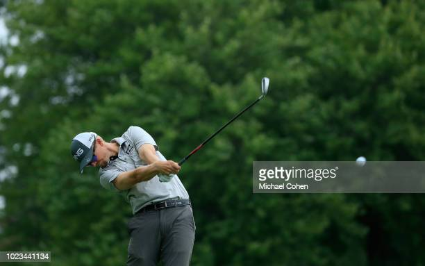 Jim Knous hits his drive on the sixth hole during the third round of the Nationwide Children's Hospital Championship held at The Ohio State...