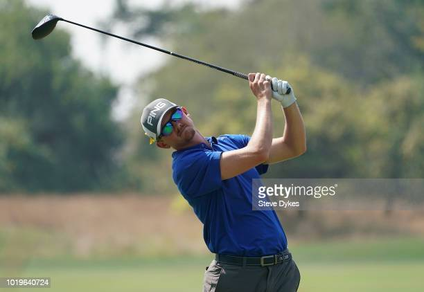 Jim Knous hits his drive on the third hole during the final round of the WinCo Foods Portland Open on August 19 2018 in Portland Oregon