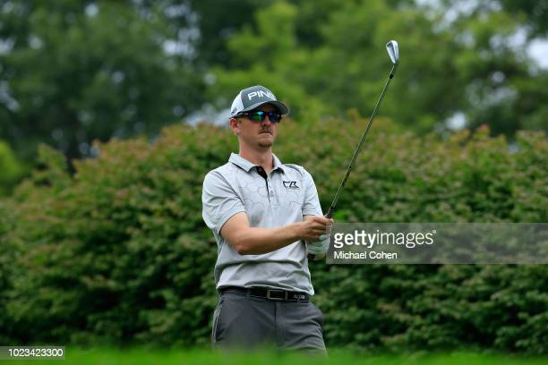 Jim Knous hits his tee shot on the 17th hole uring the third round of the Nationwide Children's Hospital Championship held at The Ohio State...
