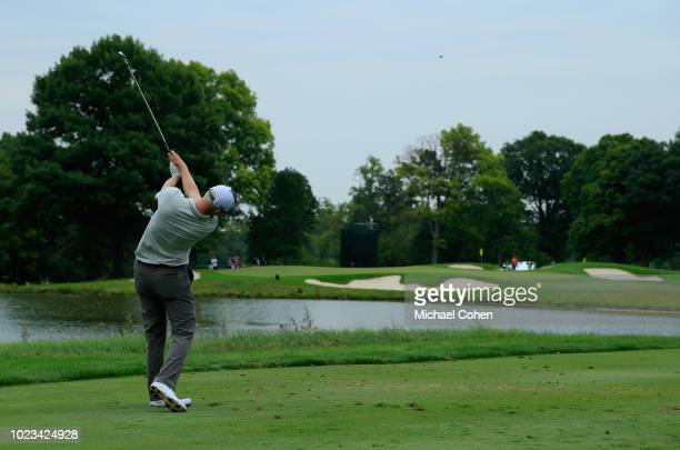 Jim Knous hits his tee shot on the eighth hole during the third round of the Nationwide Children's Hospital Championship held at The Ohio State...