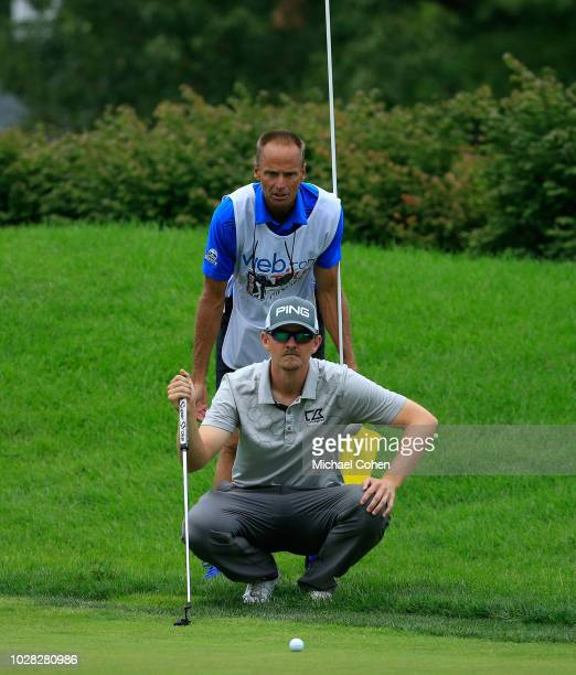 Jim Knous lines up a putt during the third round of the Nationwide Children's Hospital Championship held at The Ohio State University Golf Club on...