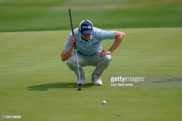 Jim Knous lines up an eagle putt on the final hole during the third round of the Valero Texas Open on April 6 2019 at the TPC San Antonio Oaks Course...