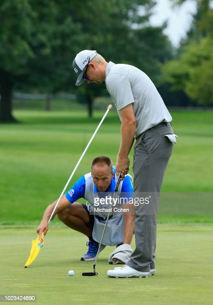 Jim Knous lines up his putt on the seventh green during the third round of the Nationwide Children's Hospital Championship held at The Ohio State...