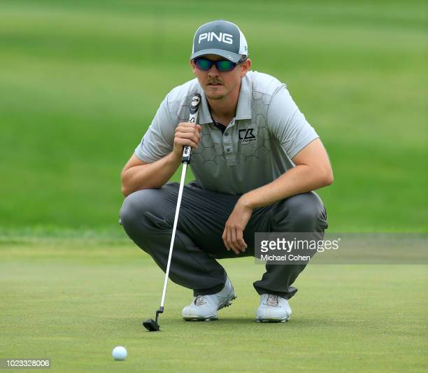 Jim Knous lines up his putt on the seventh hole during the third round of the Nationwide Children's Hospital Championship held at The Ohio State...