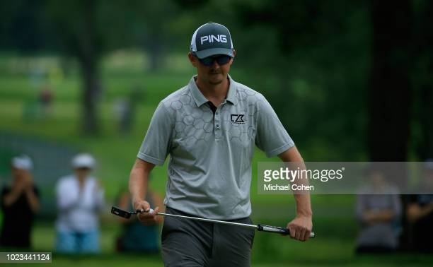 Jim Knous makes a birdie at the fifth green during the third round of the Nationwide Children's Hospital Championship held at The Ohio State...