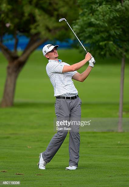 Jim Knous plays a shot on the 18th hole during the first round of the Webcom Tour Albertsons Boise Open presented by Kraft Nabisco at Hillcrest...