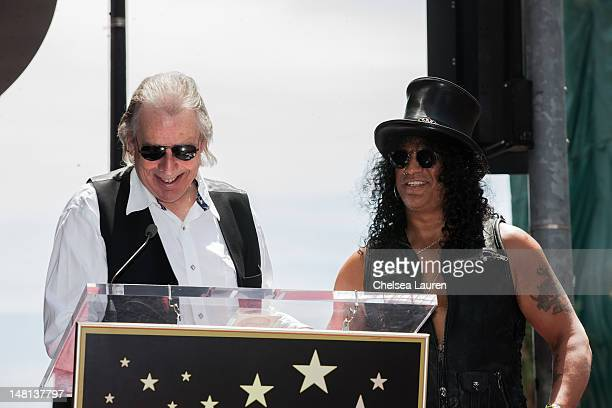 Jim Ladd and guitarist Slash attend Slash's Hollywood Walk of Fame ceremony on July 10 2012 in Hollywood California