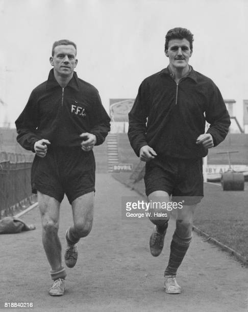 Jim Langley training with Jimmy Hill the Players' Union Chairman at Craven Cottage London the day after his transfer from Brighton to Fulham FC 15th...