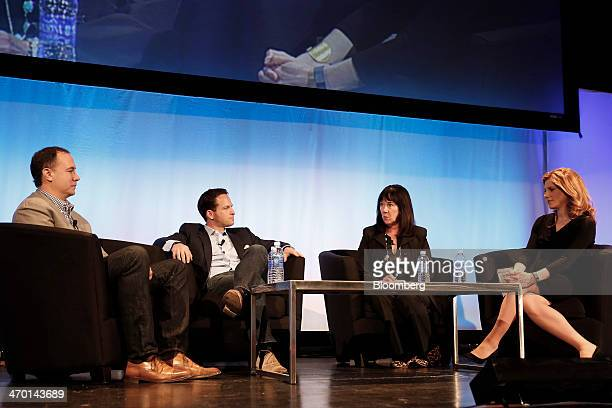 Jim Lanzone chief executive officer of CBS Interactive Inc from left Zander Lurie executive vice president of Guggenheim Partners LLC Claudia Cahill...