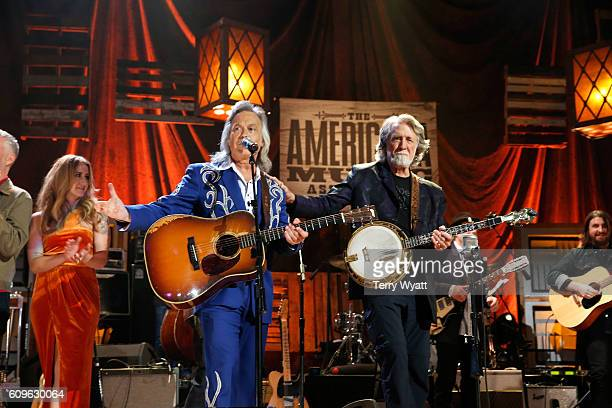 Jim Lauderdale and Nitty Gritty Dirt Band's John McEuen perform onstage at the Americana Honors Awards 2016 at Ryman Auditorium on September 21 2016...