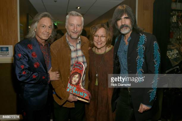 Jim Lauderdale Billy Bragg Iris DeMent and Larry Campbell pose for a photo backstage during the 2017 Americana Music Association Honors Awards on...