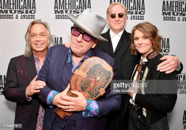 Jim Lauderdale Elvis Costello T Bone Burnett and Brandi Carlile seen backstage during the 2019 Americana Honors Awards at Ryman Auditorium on...